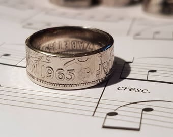 Coin Ring Half Crown  - Hand Crafted 1965 - Size V