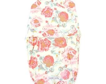 Felicity's Floral Swaddle Wrap | Pink & Aqua Vintage Floral Baby Swaddle