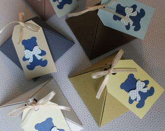 20 boxes in colored pyramid favor boxes/customizable/birth, baptism custom Boite a dragee/cajas Baptismo