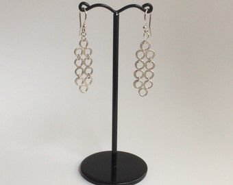 Ternion Dangle Drop Silver Earrings