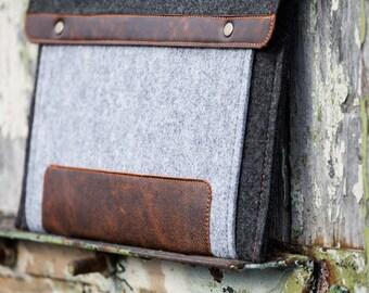 Grey Felt Asus Zenbook 3 Case with extra pocket. Asus bag for zenbook 3 deluxe, vivobook, rog, chromebook series, asus chomebook case