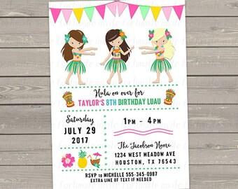 luau birthday invitation, luau invitation, tiki hula girls birthday party invitation for girls, digital file invites