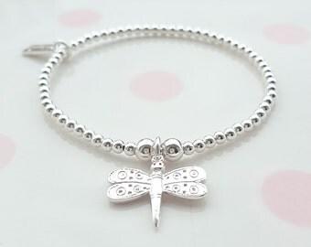 Sterling Silver Dragonfly Bracelet, Sterling Silver Bead Bracelet, Stretch Bracelet, Stacking Bracelet, Beaded Bracelet, Gift For Her