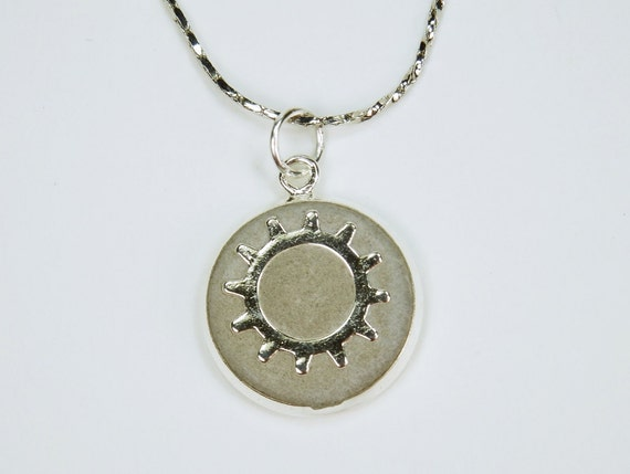 Necklace Gears Steampunk gear pendant concrete jewelry silver colored links chain concrete grey Jewelry Vintage Concrete Jewelry