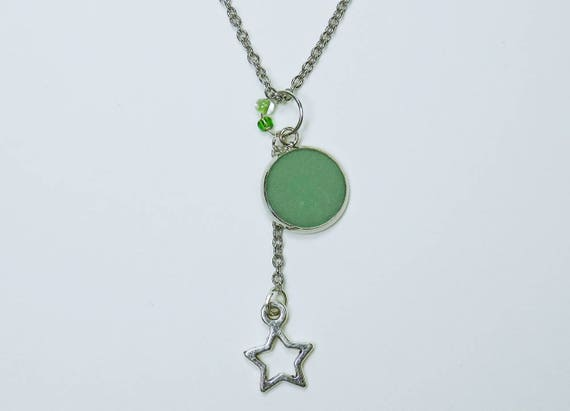 Necklace with green concrete and star pendant and pearl on silver-colored link chain made of stainless steel concrete jewelry Green Concrete Jewelry