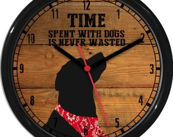 Time Spent With Dogs Wall Clock Personalized Wood Tones Gift for Veterinarians