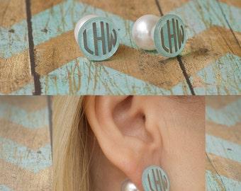 Peek-A-Boo Monogram Pearl Earrings