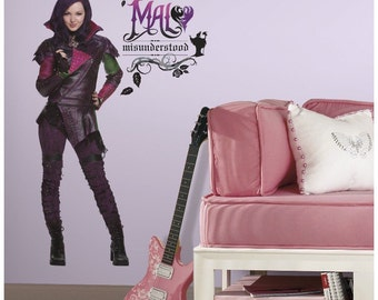 Disney descendants mal birthday/bedroom stick and peel wall decal decoration