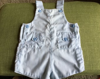 12 - 18 Month Boy Romper, Light Blue Pinstripe Lightweight Summer Overall Shorts
