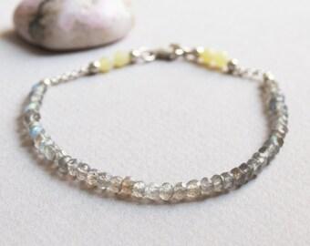 Delicate Labradorite & Jade Gemstone Bracelet w/ Sterling Silver, Minimal Healing Jewelry, 3mm Grey 4mm Yellow Semi Precious Stone Beads