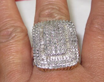 H-25 Vintage Ring 925   sterling silver real diamonds