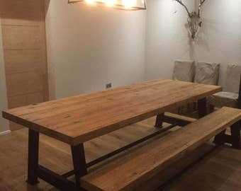 Oak top table with a metal 'A' frame base