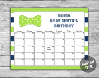 Bow Tie - Baby Shower - Due Date Calendar - DIY - Printable - Little Man Baby Shower - Calendar - Lime Green & Blue 072