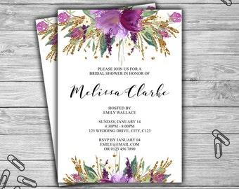 Floral - Bridal Shower Invitation - PRINTABLE - Purple and Gold - Custom - Flower - Bridal Shower Invitation - 032