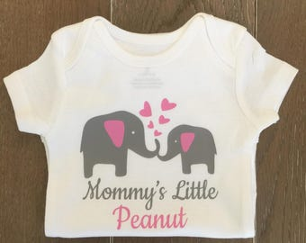 Little Peanut Onesie - Elephant Bodysuit - take home outfit - lil peanut - Baby Shower Gift - Mommy's Lil Peanut - Pink and Grey Elephants