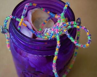 Neon Necklace, Neon Double Wrap Necklace, Wrap Necklace, Beaded Double Wrap Necklace, Glass Bead Necklace, Long Necklace, Chic Necklace