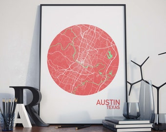 Austin, Texas City Map Print