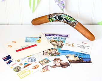 Educational Gift for Kids with Wooden Boomerang, Activity Book and Stickers to Learn about Australia.  Kids Activity Gift. Learning Gift.