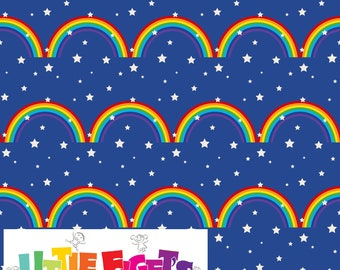 Rainbow Clouds on Blue  Knit Fabric UK Custom Print