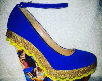 Beauty and the Beast Disney High Heel Wedge Shoes