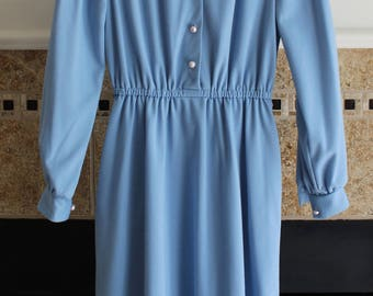 1980s Blue Day Dress w/ Faux Pearl Buttons