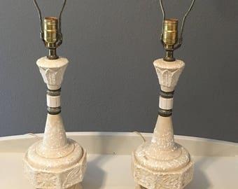 Pair Vintage Lamps, Art Deco, Retro