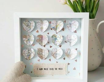 Wedding Frame/ Wedding Gift/ Gifts For Couples/ Engagement Frame/ Wedding Frame/ Anniversary Gift/ Engagement Gift/ Travel Frame/Map Frame