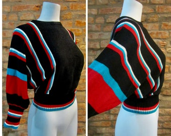 Vintage Sweater • 80s Sweater • Vintage Batwing Sweater • Small Port of Call • 80s Striped Sweater • Tight Waist Sweater • Dolman Sweater