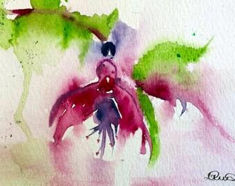 Watercolor Flower. Floral Watercolour Print. 'Fuchsia' Flower Painting Print. Pink Nursery Decor. Abstract Flowers. Floral Print Pink Decor.