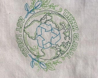 Ecology Tea Towel, Earth Day Tea Towel, Machine Embroidered Ecology Towel