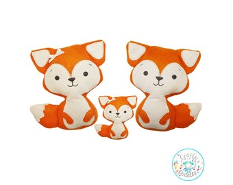 ITH Fox Toy Machine Embroidery Pattern, Fox Stuffie, Fox Softie, Fox Plushie, Woodland animals, Fox soft toy, Fox pattern, in the hoop fox