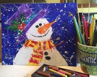 Christmas Snowman painting ... Let it snow