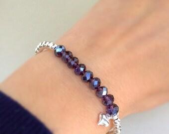 Birthstone bracelet, Glass bead bracelet, stacking bracelet, crystal glass beads, star charm, heart charm