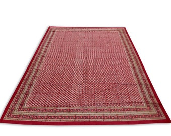 Indian Hand Block Printed Rajasthani Art Work Design Cotton Double Bed sheet in Red Color size 90x108""