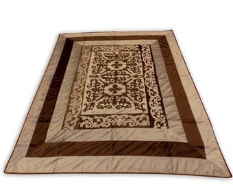 Indian Hand Made Silk Brown Color Mugal Design Double Bed Cover 260x240 CM