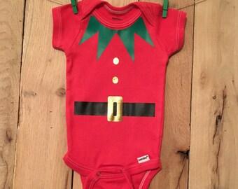 Elf onesie, christmas onesie, christmas outfit, boys clothing, party onesie, holiday onesie, cute onesie, baby, onesie, elf