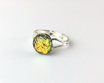 Dichroic fused glass ring-fused glass-sparkly ring-girlfriend gift-gift for her-gift-mothersday gift-rainbow ring