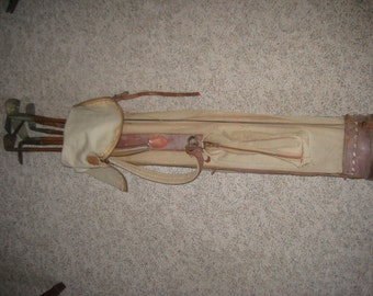 Hickory Shaft Golf Clubs With Bag. (7).