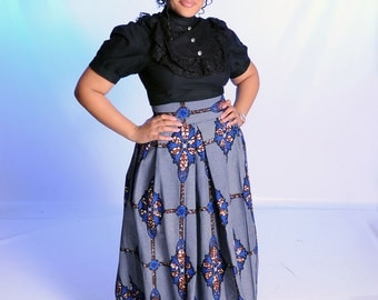 African Print / High Waist / Skirt / Blue / Black / Matching / Ankara / Pleated /