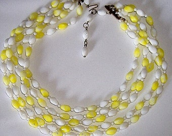 1950S GLASS yellow and white  coloured necklace FIVE stranded summery
