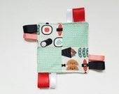 Baby Taggie Blanket - Sushi Takeout | baby girl | trendy baby toys | baby gift | Handmade taggie | sensory toy | comfort | tag blanket