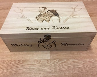 Personalised Wedding Memory Box Hand Burned Pyrography designed and Illustrated by Artist