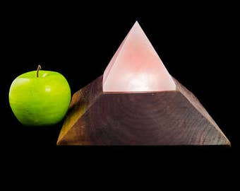 Rose Quartz Crystal Pyramid on Custom Black Walnut Base with LED Disk / Dimmer Switch #8793