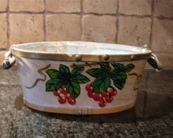 Two-Handle Basket with Cherry Design