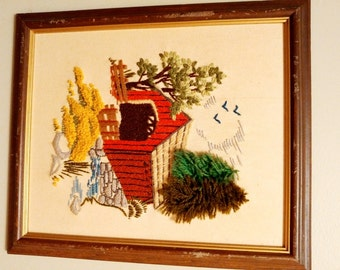 Vintage framed colorful Needlepoint wall Art