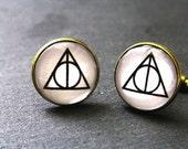 Deathly Hallows Harry Potter Cufflinks Mens gift Valentines Gift Cufflinks Funny gift Harry Potter Gifts Harry Potter Deathly Hallows.