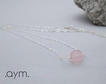 rose quartz single bead necklace, adjustable sterling silver rose quartz gemstone choker, blush pink minimalist dainty necklace gift for her