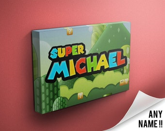 Personalised Super Mario Nintendo Inspired Name Canvas