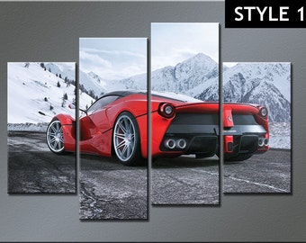 La Ferrari Super car 4 Panel Canvas