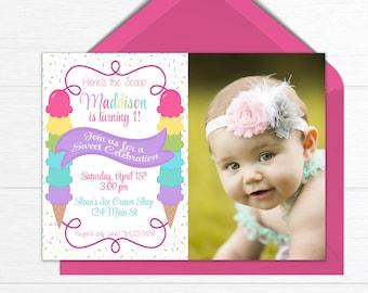 Ice Cream Birthday Party Invitation, Birthday Invite with Photo, Ice Cream Party, PRINTABLE Birthday Party Invitation, Summer Birthday Party
